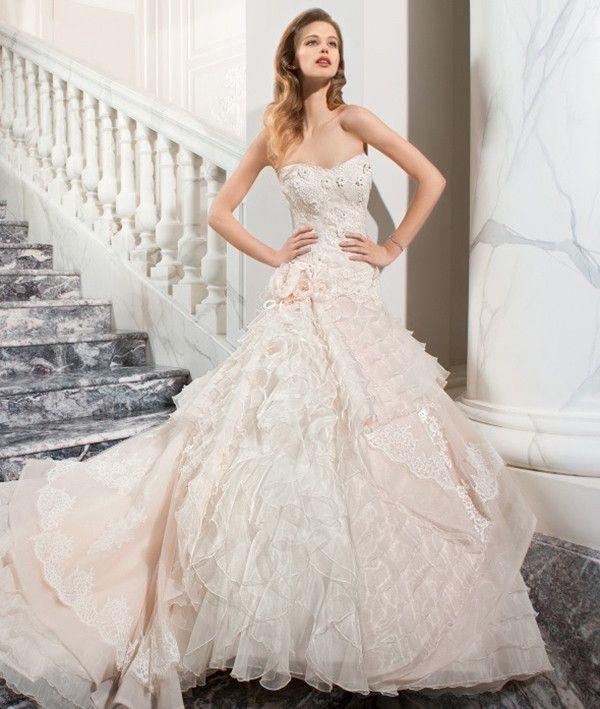 Love this blush textured wedding dress | Demetrios Couture 2015 Bridal Collection via @WorldofBridal
