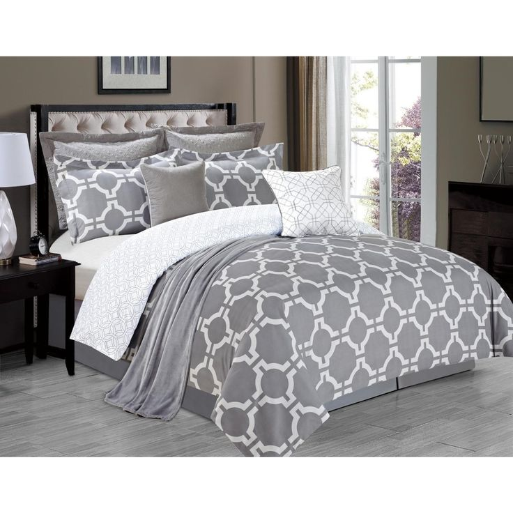 This Belmore Grey 8-piece Comforter Set is a truly contemporary bedding set. The white geometric patterns on a grey background are a crisp and modern touch on this complete set.
