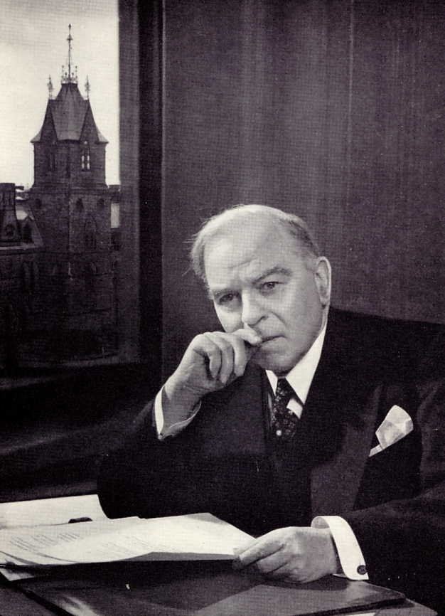 Hon. William Lyon Mackenzie King......16th Prime Minister of Canada from 1935 - 1948;  Created Canadian Broadcasting Corp.; National Film Board of Can.; Unemployment Insurance Act 1940; Nationalization of the Bank of Canada; World War II; Conscription Crisis of 1944; Can. entry into United Nations; Trans-Canada Airlines; Gouzenko Affair......King was the dominant Canadian political leader from the 1920s through the 1940s.