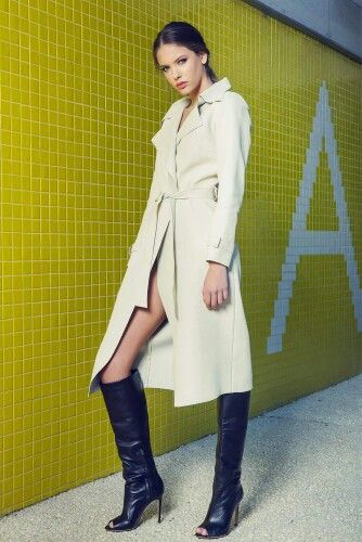 Andra Andreescu limited edition white leather trench coat