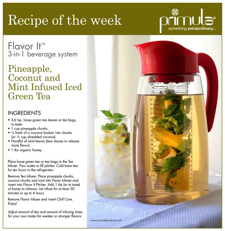 Pineapple, Coconut and Mint Infused Green Tea #recipe Green tea health benefits boosts immunity. For other great tips visit www.theinspiringkitchen.com