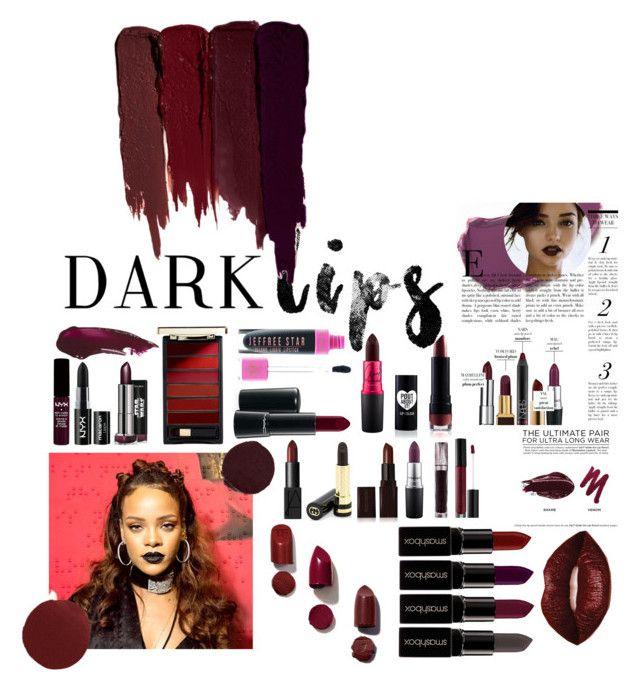 """Dark lips"" by akanksha-mahajan on Polyvore featuring beauty, Serge Lutens, Smashbox, Tom Ford, L'Oréal Paris, NARS Cosmetics, NYX, MAC Cosmetics, Bobbi Brown Cosmetics and Gucci"
