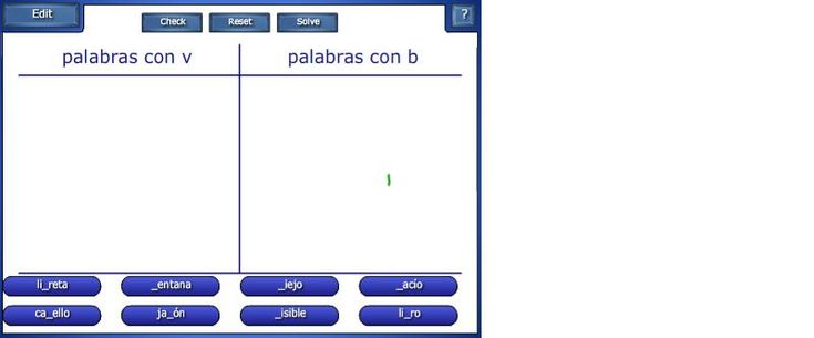 Recull de 9 activitats creades amb programari notebook de Smart. Han estat utilitzades a les sessions de llengua castellana a CICLE SUPERIOR. Recullen diferents continguts d'ortografia de la llengua. Alguns exemples són: singular-plural, b-v, gènere, dictat de paraules, etc