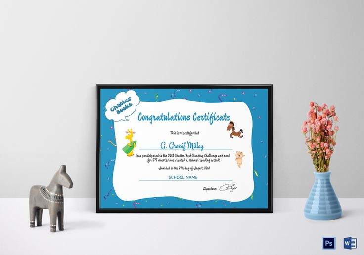 Chatter Books Congratulations Certificate Template  $12  Formats Included : MS Word, Photoshop   File Size : 11.69x8.26 Inchs  #Certificates #Certificatedesigns #CongratulationsCertificates