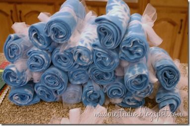 20 scarves made from 2 fleece blankets from Big Lots