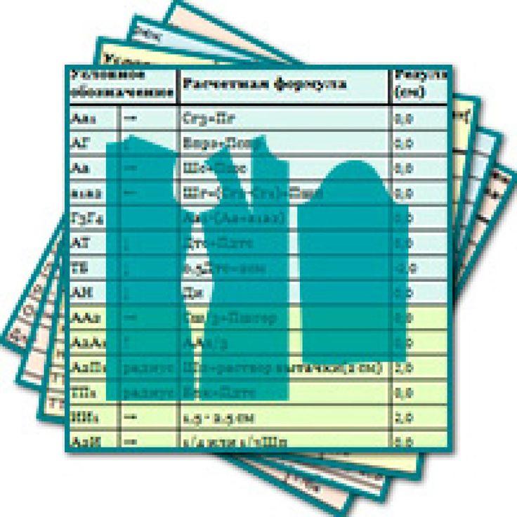 Таблицы-калькуляторы для точного расчета выкроек