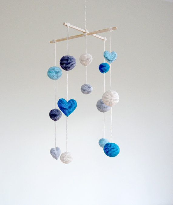 Crochet Aqua Blue Hearts/Balls Baby Mobile - Grey/Blue/Aqua Ball's Mobile(5-color mobile) - Boys/Girls room decoration- Baby boy nursery