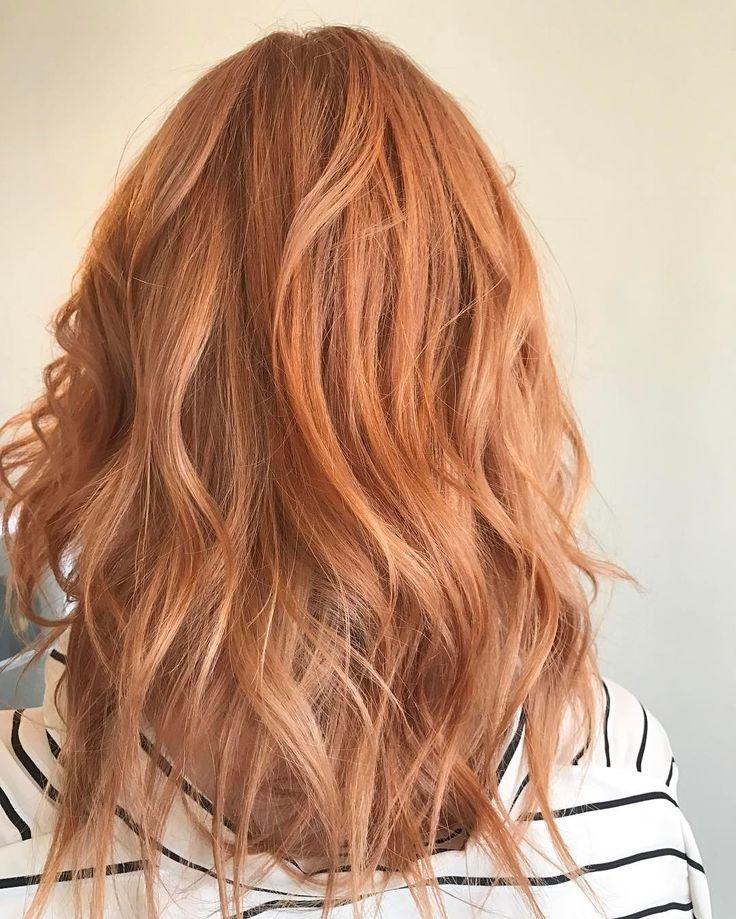Pretty peach rose gold strawberry blonde by Aveda Artist Monica Savig. Formula: 50g 9n 1.5 loy (deep) 1g lor 1.5 lvb 50g 20vol over natural level 8n