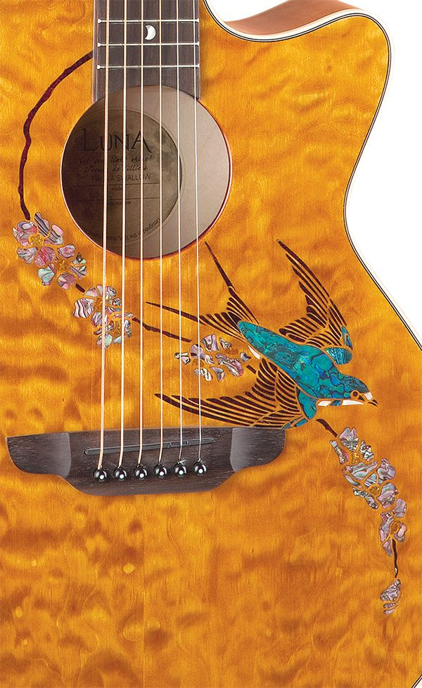 This is my friend, Yvonne's guitar design... man, they are doggone beautiful. Luna guitars.... Fauna Swift detail