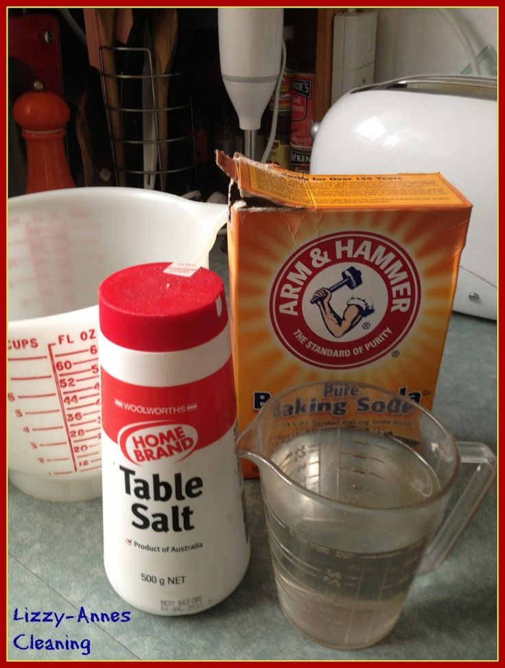 1c soda, 1c salt, 1c water. Mix, coat oven and heat to 180 for 15 min, then wipe clean.