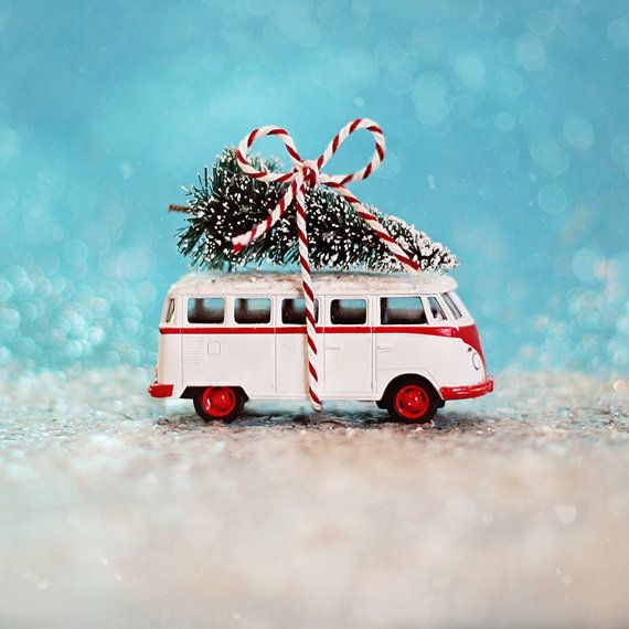Holiday Photography VW Bus Christmas cobalt blue red by annadykema, $30.00