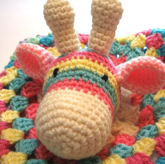 Crochet baby security blanket.  Giraffe.  by ThoughtfulStitches