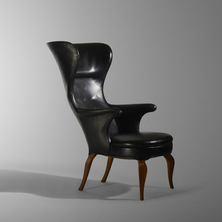 Lot 154: Frits Henningsen. Wingback armchair. 1935, leather, carved and stained oak. 27 w x 40 d x 45½ h in. estimate: $40,000–60,000. Provenance: John and B. Lee Dorn, Midland, TX | Private Collection