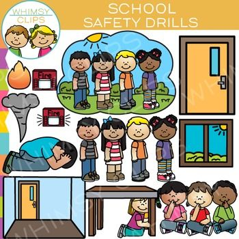 School safety drills clip art - original illustrations by Whimsy Clips.