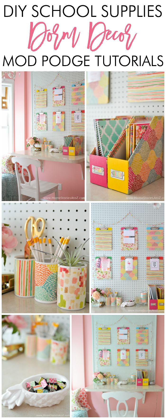 'Adorable DIY Dorm School Supplies Dorm Decor w/ Tutorials...!' (via Home Stories A to Z)