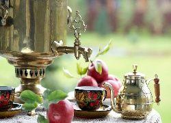 Samowar, Herbata, Jabłka, Filiżanki