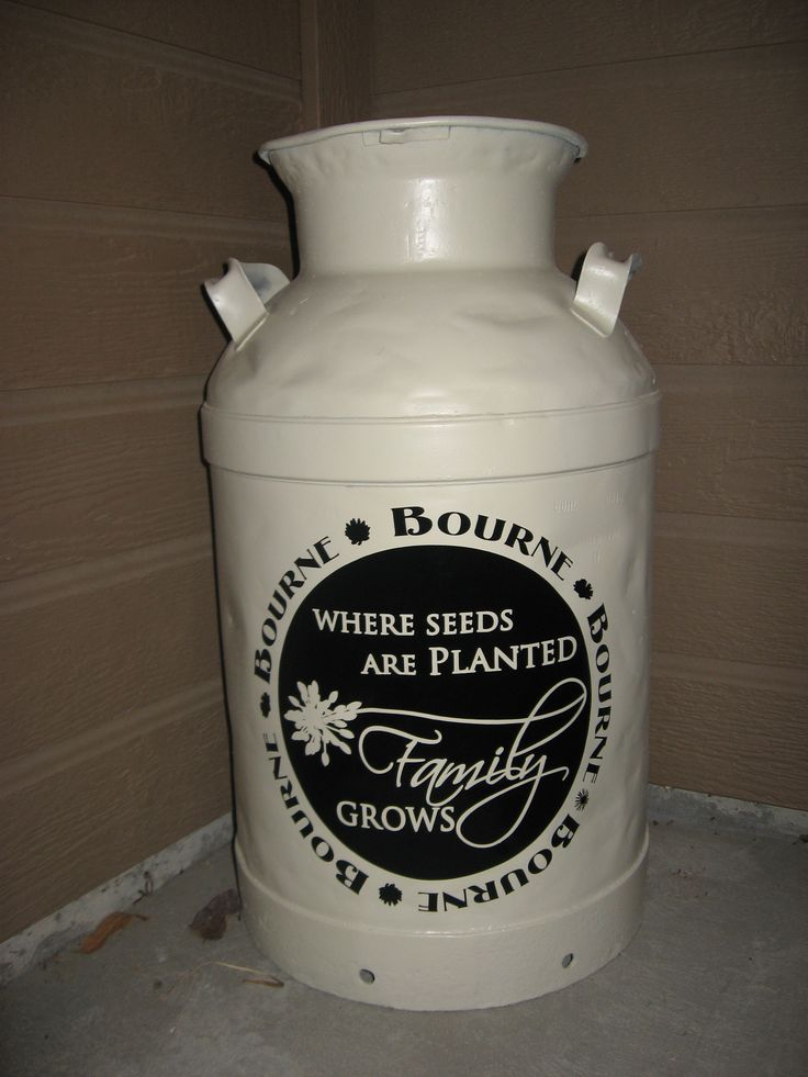 This was an old milk can. I repainted and put a vinyl design from Simply Said designs.