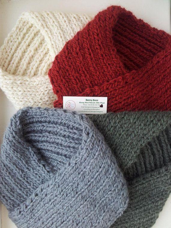 Bandana Scarves: Hand Knitted in Wool/Alpaca Luxury Pull-on
