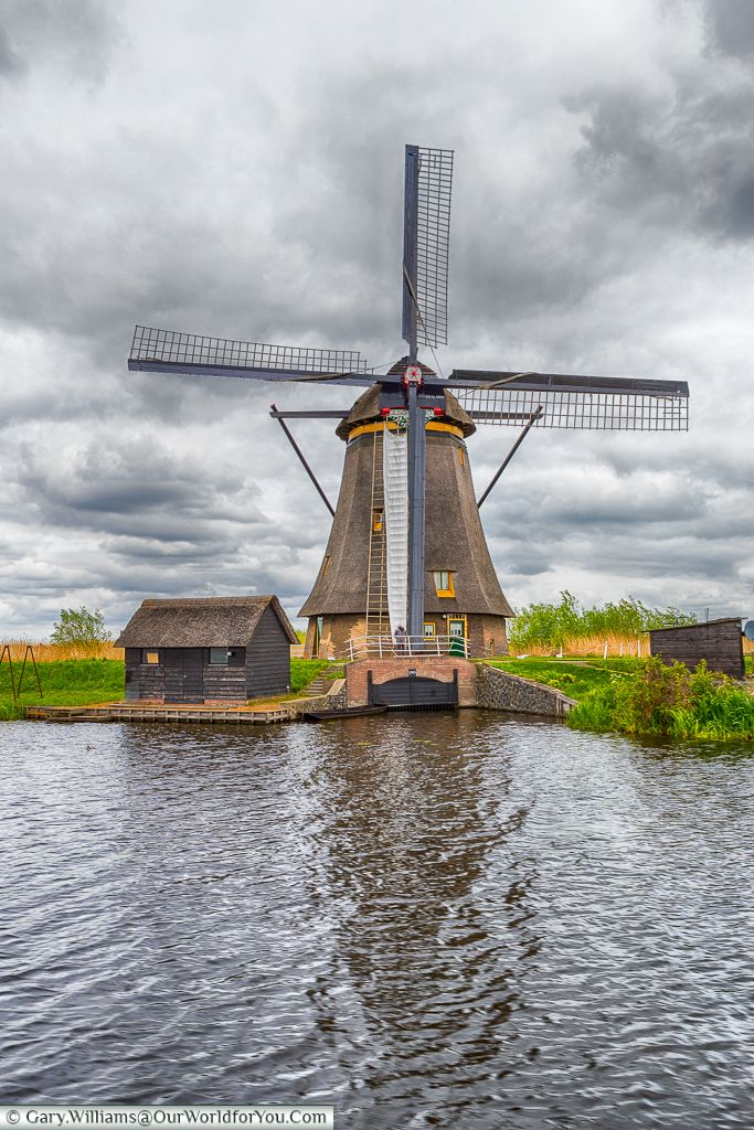 One of the windmills at Kinderdijk, Holland, Netherlands