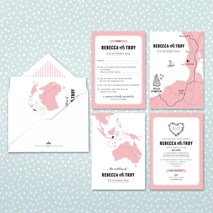 World map invite with floral heart and pinstripe lined envelope. Custom map designed of Seminyak, Bali.