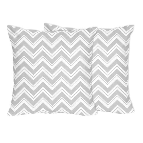 Gray and White ZigZag Chevron Print Decorative Accent Throw Pillows - Set of 2