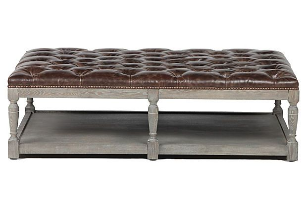 This Is The Perfect Ottoman Coffee Table Tufted Leather Good For Resting Feet Shelf Beneath Storing Objects Trays Etc
