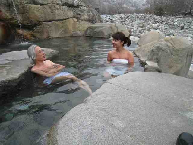 Konyoku onsen (混浴温泉) are Japanese hot spring baths that offer mixed gender bathing.