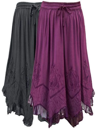 NEW 18-20 Eaonplus BLACK FLOWING SCALLOPED FLARE GYPSY BOHO GOTH HIPPY SKIRT | eBay