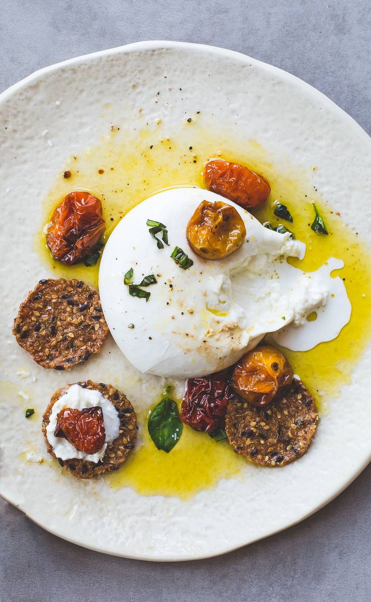 Creamy Burrata with Slow Roasted Cherry Tomatoes, Basil, and Olive Oil