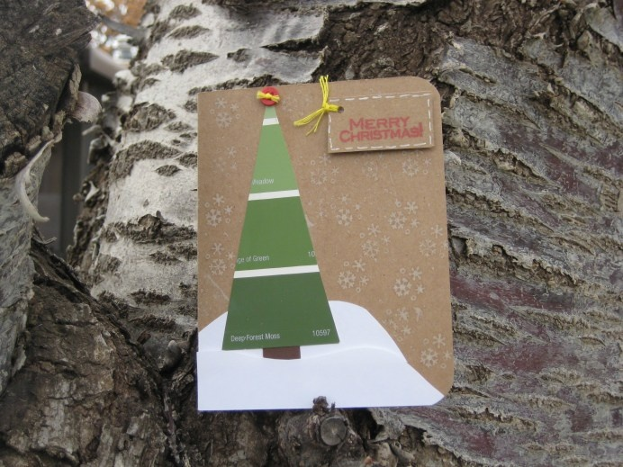 paint chip Christmas tree card: Chip Cards, Children S Crafts, Card Making, Card Ideas, Christmas Card