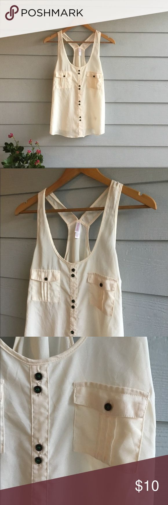 Light & breezy tank Excellent condition. Ivory/cream color with metal faux buttons down front. Sheer not too sheer to stand alone;) Tiny green detail on buttons. Racer vback style. Her sister is also available in black NWT:) Tops Tank Tops