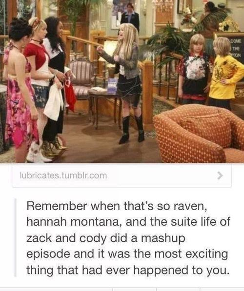 Disney mash up of Hannah Montana, that's so raven, and suite life of Zack and Cody