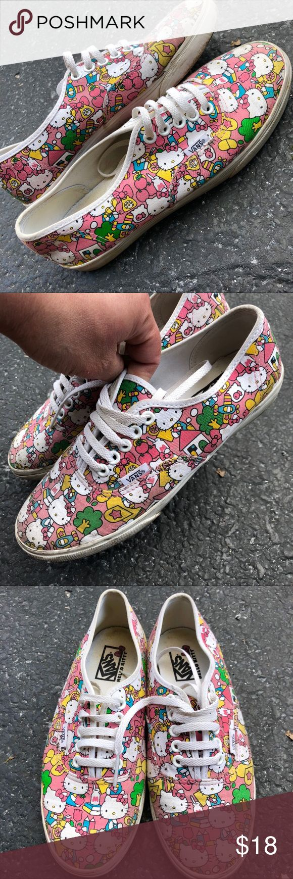 Hello Kitty VANS size 7 Vguc Cute!! Hello kitty baby pink and blues ladies vans Clean and in lightly used very good condition. Size 7 Vans Shoes Sneakers