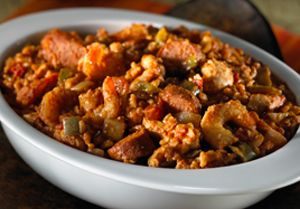 This Chicken-Shrimp Jambalaya recipe is great for serving a big crowd or big appetites. #SlowCooker