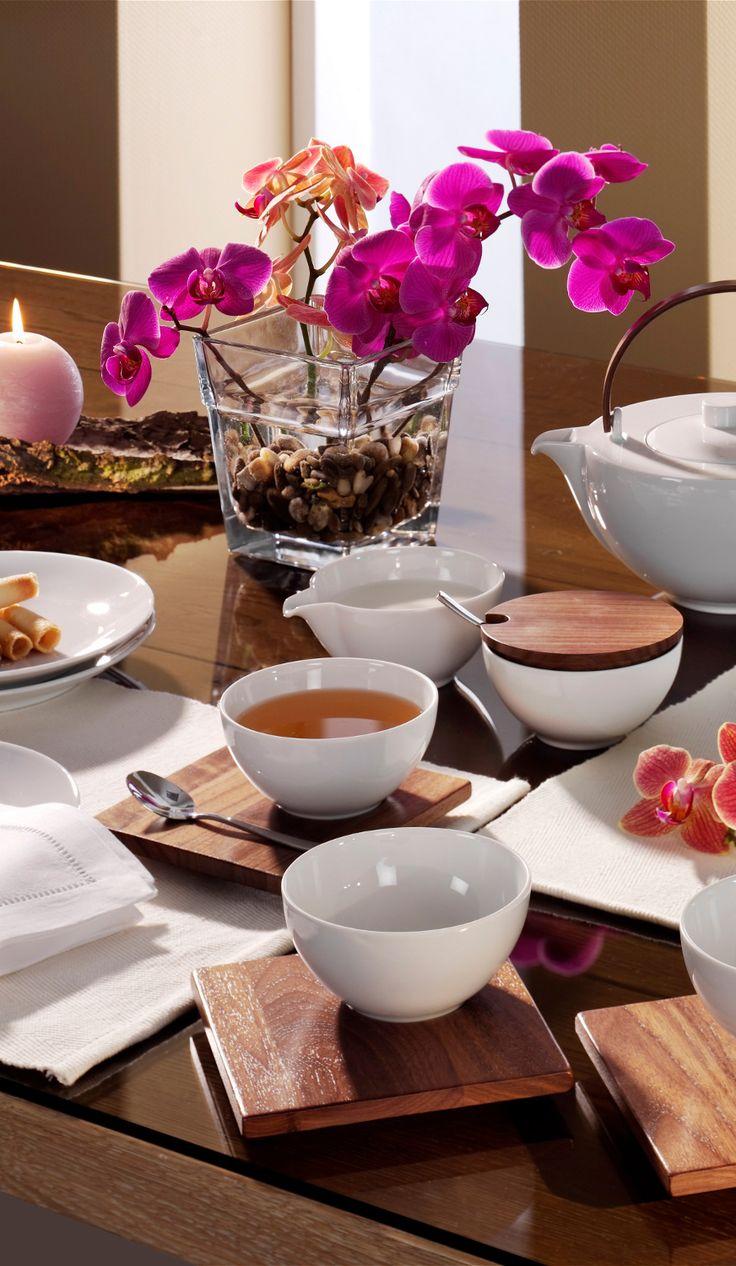 15 tlg. Teeservice aus Holz und Porzellan