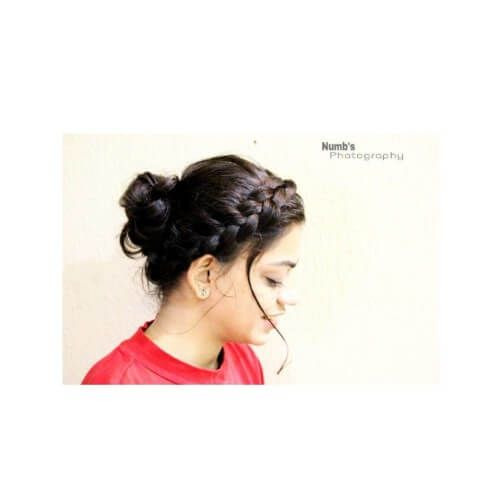 side braid and bun indian college hairstyle
