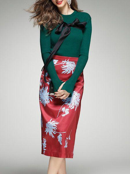 Dark Green Polyester Long Sleeve Two Piece Midi Dress