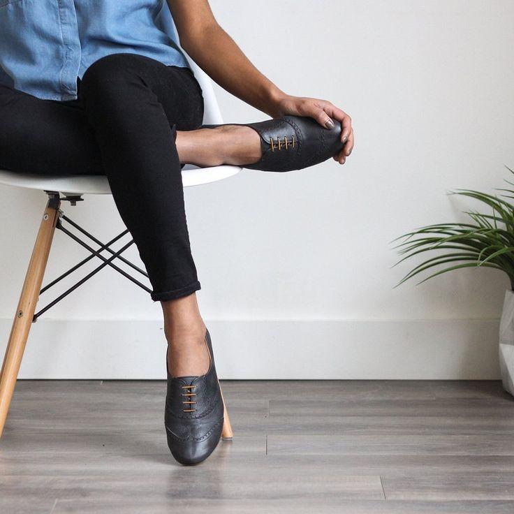 The Soft Oxford - black leather womens oxford round toe - Poppy Barley