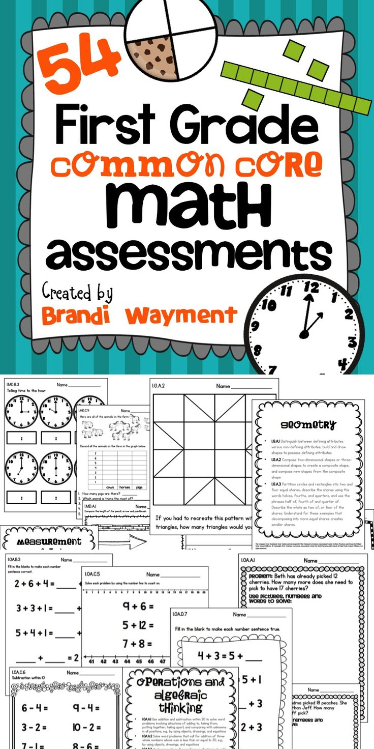 54 First Grade Common Core Math Assessments (TpT$) - Includes at least one assessment for every standard.