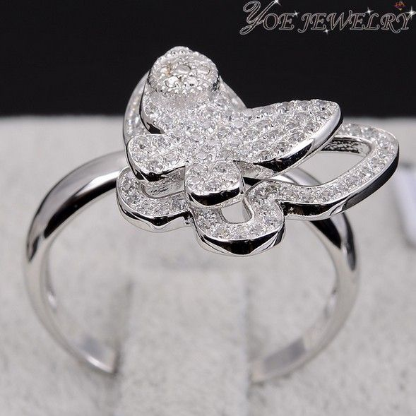 Уникальный дизайн мода вращающийся кристалл кольца ааа циркон бабочка свадьба обручальное кольцо.
