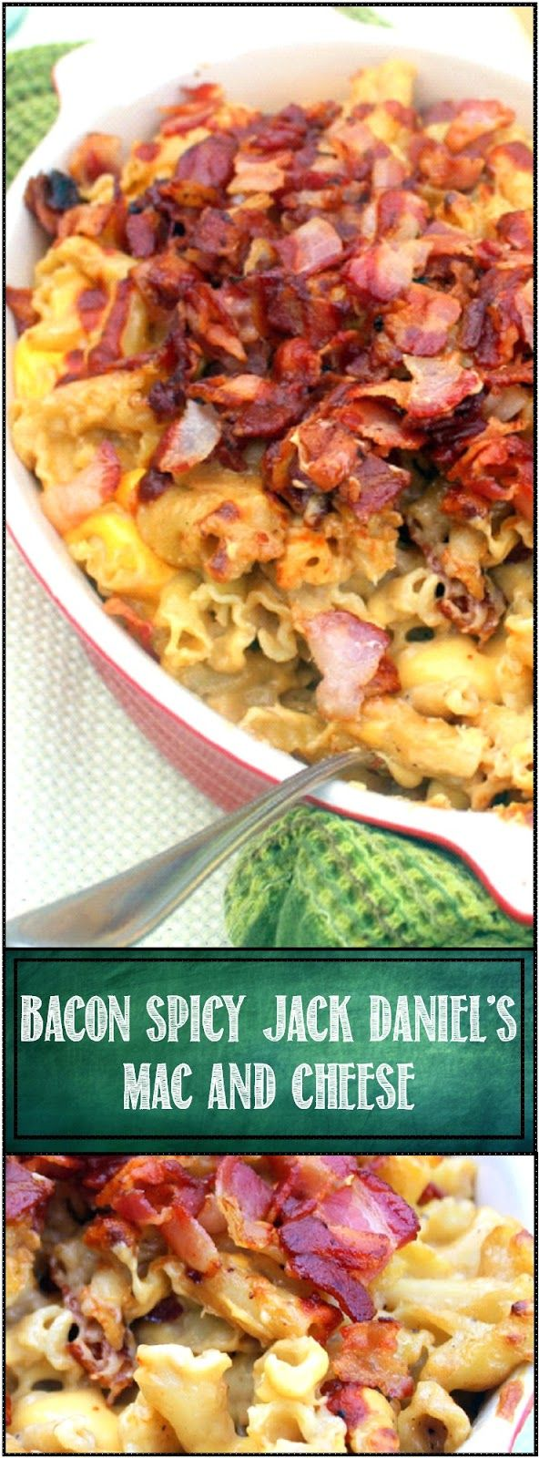 BACON BACON BACON Spicy Jack Daniel's Mac and Cheese - 52 Church PotLuck Side Dish... LOADED with Bacon and seasoned with Jack Daniel's Whiskey. Now this is a grown up Macaroni and Cheese recipe that makes your table sing!!!