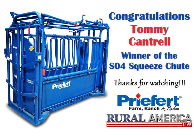 Tommy wins the Priefert S04 Squeeze Chute for entering the contest during Rural America Live