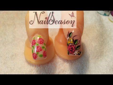 como hacer uñas acrilicas flores vintage diseño 2015 / tutorial nail art paso a paso - YouTube
