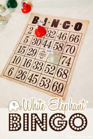 White Elephant Bingo. What a great idea for a party!