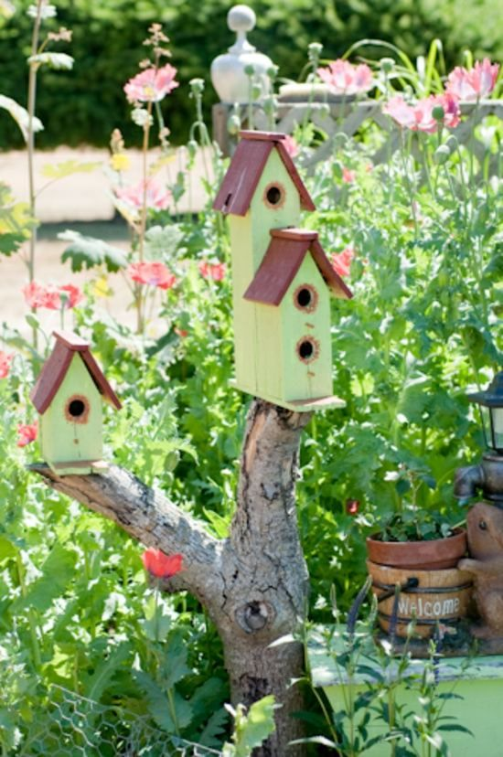 kreative Vogelhäuser bauen Holz Anleitung