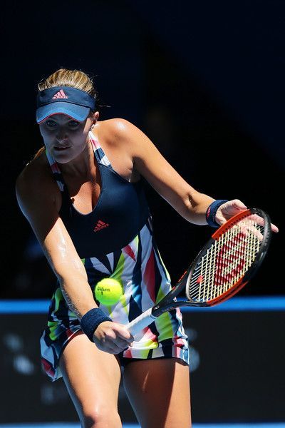 Kristina Mladenovic of France plays a backhand to Heather Watson of Great Britain in the Womens Singles Match on day four of the 2017 Hopman Cup at Perth Arena on January 4, 2017 in Perth, Australia.