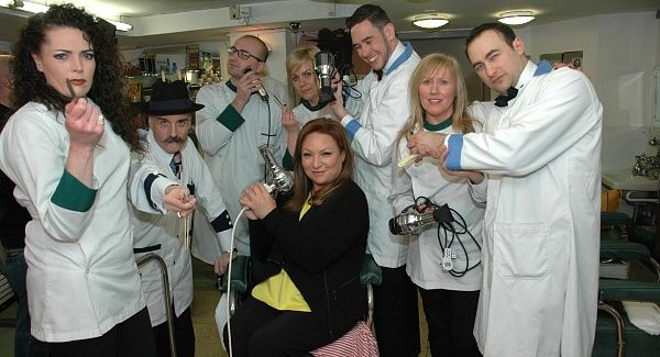 Presenter Norah Casey and the staff at the Waldorf Barbershop