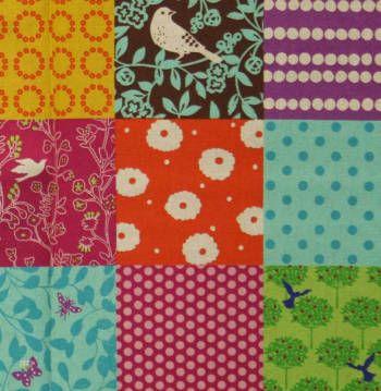 Latest Designer Fabric 'Patchwork Birds in Brights' by Echino. All latest Designer fabrics sold online.