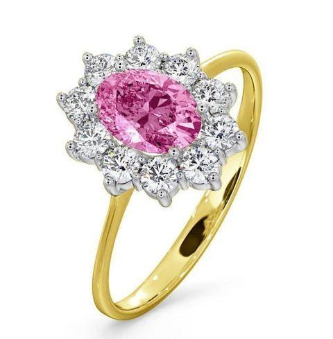 Anello con diamanti e zaffiro rosa, The Diamond Store.