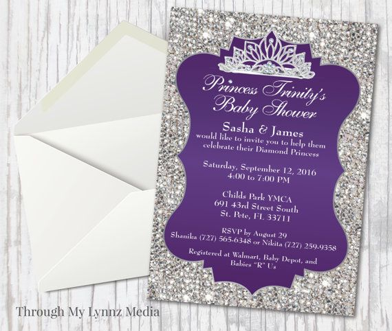 The arrival of your baby girl is a BIG deal, and theres no better way to let everyone know just how excited you are to meet her than by sharing the news with the Bling Princess Baby Shower Invitation, custom designed by the Through My Lynnz Stationary Shop! This purple, silver